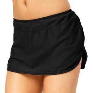 NWT Go by Gossip Women's Solid Swim Skirt Black XL